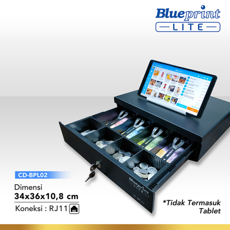 Cash Drawer CASH DRAWER  LACI KASIR  LACI UANG BLUEPRINT CDBPL02 34x36x108 Cm  2 cash drawer cd bpl02