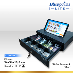 CASH DRAWER  LACI KASIR  LACI UANG BLUEPRINT CDBPL02 34x36x108 Cm