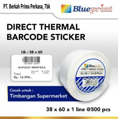 Direct Thermal Sticker  Label Stiker BLUEPRINT 38x60x1 Line Isi 500