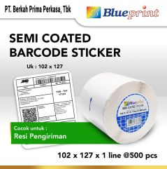 Sticker label Barcode BLUEPRINT 102x127x1 Line Semi Coated Isi 500