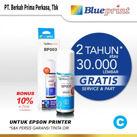 Tinta Tinta Epson 003 BLUEPRINT For Printer Epson 72ml Cyan  Biru epson 003 cyan