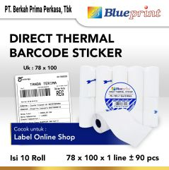 Direct Thermal Sticker Label Resi Portable BLUEPRINT 78x100 isi 90 Pcs