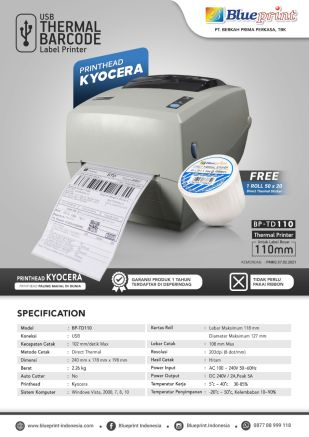 News Printer Barcode Thermal  Printer Label Resi BLUEPRINT BPTD110  USB